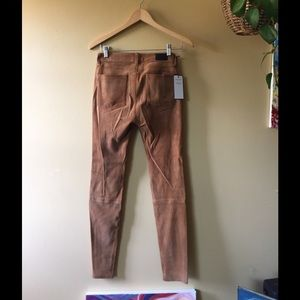 NWT Soft Leather Straight leg Pants // suede tan